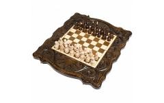 Шахматы + нарды резные Корона 40 Haleyan