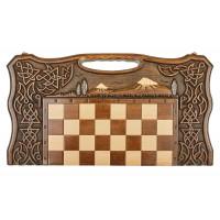Шахматы + нарды резные с Араратом 2, ручкой, Haleyan