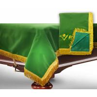 Чехол для б/стола 10-3 (зеленый с зеленой бахромой, с логотипом)