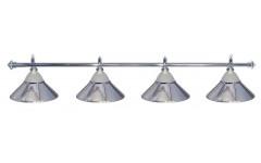 Лампа на четыре плафона «Jazz» (серебристая штанга, серебристый плафон D38см)